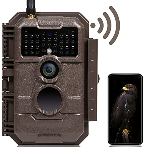GardePro E6 Trail Camera WiFi Bluetooth 24MP 1296P Game Camera with No Glow Night Vision Motion Activated Waterproof for Wildlife Deer Scouting Hunting or Property Security, Brown