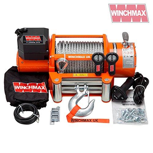 WINCHMAX Elektrische Seilwinde (7,711 kg), Orange, 24 V, Stahlseil mit Zwei kabellosen Fernbedienungen