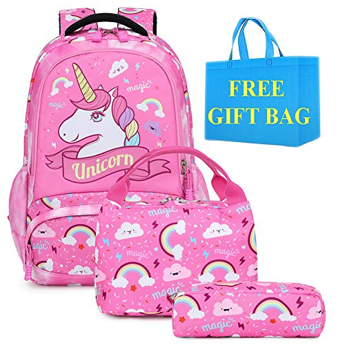 Mochila Escolar Unicornio Niña Chica Mochilas Infantiles Set de Mochila y Estuche + Bolsa del Almuerzo,Girls Backpack Set Unicorn School Bag