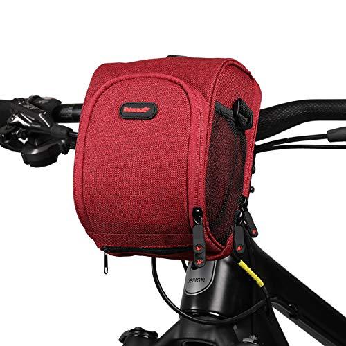 Asvert Fahrrad Lenkertasche wasserdichte Fahrrad Vordertasche für alle Fahrradtypen mit abnehmbarem Schultergurt und Regenschutz, geeignet für Fahrten im Freien (Rot)