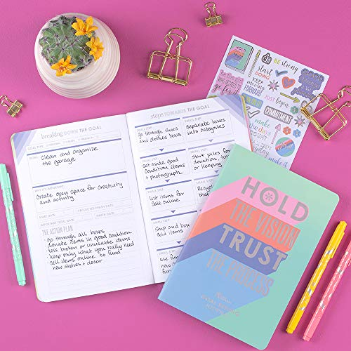 Erin Condren Designer Petite Planner - Goal Setting Journal with Illustrative, Functional, Cute Sticker Pack That Includes Inspirational Quotes for Customization