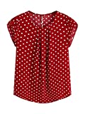 Milumia Women's Elegant Polka Dots Print Cap Sleeve Keyhole Back Work Blouse Top Red Large