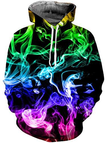 Goodstoworld Herren Damen Kapuzenpullover 3D Bunt Smoke Druck Hoodie Schwarz Langarm Pullover Sweatshirt Kapuze Gedruckte Top Jungen L