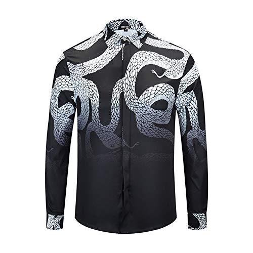 CHENS Manches Longues/Slim fit/Classique/Une Chemise de Serpent imprimée de vêtements pour Hommes XL à la Mode chez Les Jeunes Occasionnels en tête d'une Chemise en Coton Hiphop