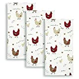 Cackleberry Home Farmhouse Chicken Kitchen Towels 100% Cotton, Set of 3