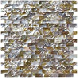 Art3d Natural Mother of Pearl Oyster Mini Brick Shell Mosaic Tile for...