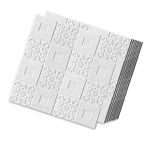 DGFDS 3D Papel Pintado, Paneles De Pared 3D Papel Pintado Ladrillo Blanco Impermeables Espuma Pegatinas Decoración De Pared 3D Papel Pintado para Cocinas,Sala De Estar 70x70cm (5 Piezas)
