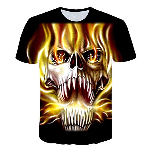 RKWEI T-shirt à manches courtes pour homme Motif crâne 3D Motif femmes XL multicolore