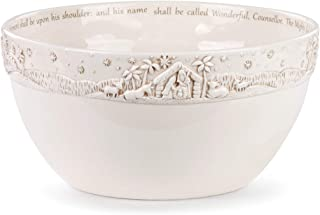 A Child Is Born Glossy White 10 x 5 Ceramic Earthenware Christmas Serving Bowl
