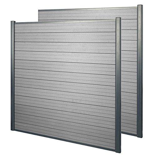 Mendler WPC Pare-Vue Sarthe, Abat-Vent, clôture, Aluminium Premium ~ Lot de 2, 3,75m, Gris