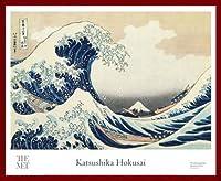 ポスター ホクサイ The Great Wave 富嶽三十六景・神奈川沖波裏 額装品 ウッドベーシックフレーム(レッド)