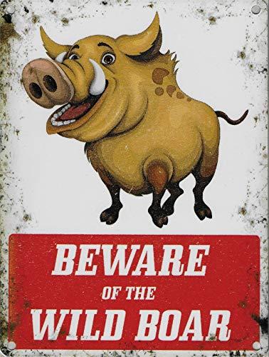 Chunzo Beware of The Wild Boar metalen bord, deurbord, metalen bord, borden, aluminium, waarschuwingsbord, wanddecoratie, café, bar