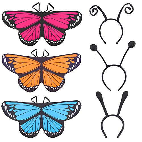 Beelittle Alas de Mariposa Disfraz Disfraz de Disfraces Conjunto de Alas de Mariposa Cape Shawl con Antena Diadema y Máscara para Niñas Niños (B)