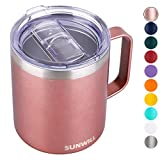 SUNWILL Coffee Mug with Handle, 14oz Insulated Stainless Steel Coffee Travel Mug, Double Wall Vacuum Reusable Coffee Cup with Lid, Rose Gold
