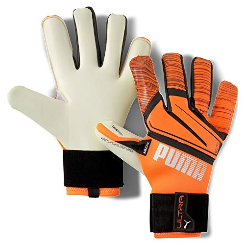 PUMA Ultra Grip 1 Hybrid Pro Guantes De Portero, Unisex Adulto, Shocking Orange White Black, 8.5