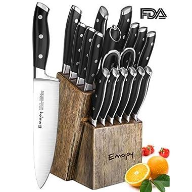 Knife Set, Kitchen Knife Set with Block Wooden, Manual Sharpening for Chef Knife Set, German Stainless Steel, Emojoy (18 piece Knife Set)