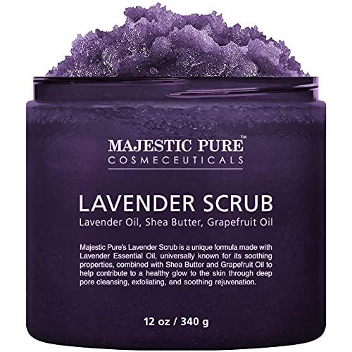 Lavender Oil Body Scrub Exfoliator with Shea Butter and Grapefruit Oil by Majestic Pure - Exfoliate & Moisturize Skin, Fights Acne - 12 oz