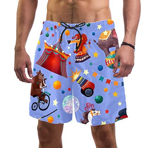 AITAI Pantalones cortos de playa para hombre, color morado con diseño de circo de animales de secado rápido