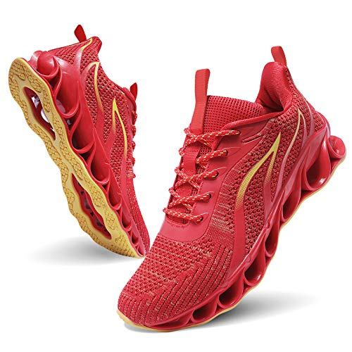 MOSHA BELLE Men Fashion Shoes Sneakers Red Mesh Blade Athletic Running Walking Shoes, 13