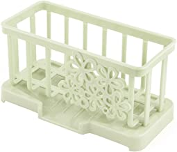 uxcell Plastic Kitchen Rectangle Cleaning Tool Pad Spong Brush Sink Suction Holder Light Green