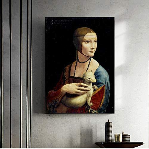 wZUN Carteles de Arte e Impresiones en Las Paredes de Pinturas sobre Lienzo Cuadros de Arte clásico para Damas 60x90 Sin Marco
