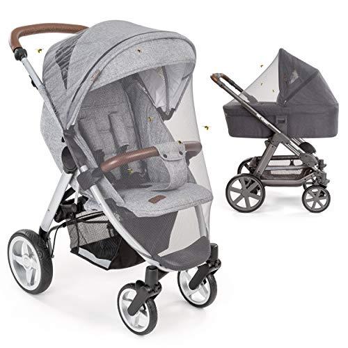 Mosquitera / Red antiinsectos universal capazo y silla de paseo | Protección contra picaduras, goma elástica, resistente, lavable, bolsa | gris