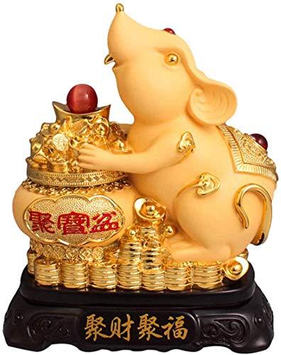 LULUDP-Decoración Decoraciones Shakin Chinese Ornaments Estatua China del Zodiaco Animal de ratón/Rata de Mesa decoración figurilla Regalo Colección Riqueza y Escultura Buena Suerte Dos Estilo, A, C