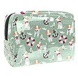 Bolsa de maquillaje para mujer, bolsa de maquillaje con cremallera negra, portátil, bolsa de aseo de viaje, diseño de perro de dibujos animados marinero
