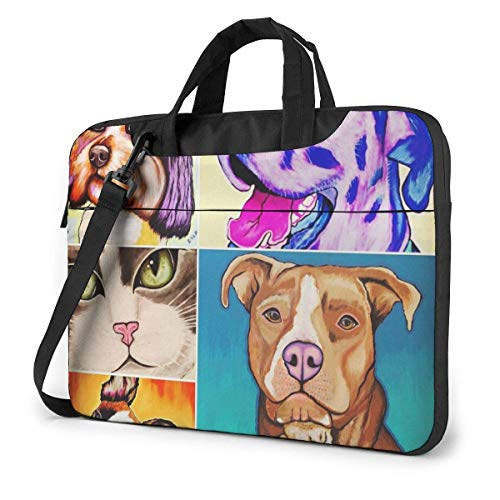 Laptop-Hülle, Honig-Hunde-Katzen-Laptop-Tasche Laptop-Schulter-Umhängetasche Schutztasche 15,6 Zoll