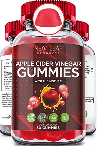 Apple Cider Vinegar Vegan Gummies with The Mother High Strength + Vitamin B12 Folate Pomegranate & Beetroot – Fresh Pure Unfiltered Vinegar Not Powder - May Help Weight Loss Energy Boost