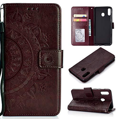 CoverKingz Handyhülle für Huawei P40 Lite E - Handytasche mit Kartenfach P40 Lite E Cover – Handy Hülle klappbar Motiv Mandala Braun
