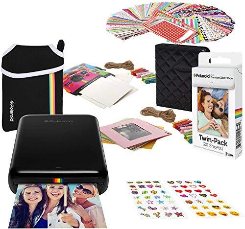 Polaroid Zip Wireless-Fotodrucker (Schwarz) Starterbündel mit Neopren Etui