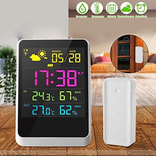 HXUJ Stazione meteorologica Indoor Outdoor Calendario Digitale Sveglia Termometro con sensore Wireless igrometro