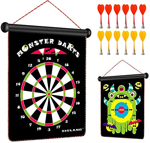 Magnetic Dart Board Game for Kids 8-12, Gift for Teen Boys Birthday or Christmas, Monster Theme Include 12 Darts