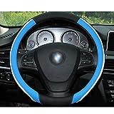 FJW Cuero de Microfibra Cubierta del Volante Tamaño Universal 37-38cm Respirable Antideslizante Protector para Auto/Camioneta/SUV,Blue