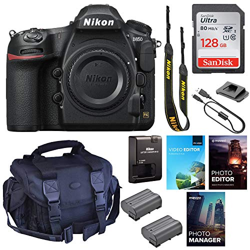 Nikon D850 DSLR Camera (Body Only) || 45.7MP FX-Format || 4K UHD Video || Wi-Fi with Padded Shoulder Case, Photo & Video Edition Software Package and 128GB High Speed Memory