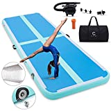 C CIIHI 10ft Air Track 4 inches Inflatable Gymnastics Mat Air Track Floor Tumbling Mat for Martial Arts Cheerleading Tumble Track with Electric Pump for Home Use /Training/Beach