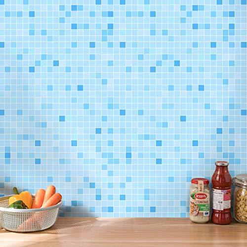 LC&TEAM Klebefolie selbstklebend Fliesenaufkleber Mosaik Wandaufkleber 0,6x5M Küchenwand Aufkleber Öldicht Schrank Folie Wasserfest Dekorfolie Möbelfolie_Hellblau