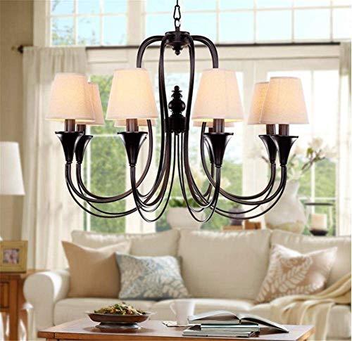 Lámparas de araña Lámpara de araña de hierro forjado simple Sala de estar Telas de comedor Iluminación de araña de tela