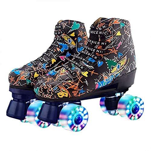 Milky Way Damen Rollschuhe High Top Rollschuhe Klassische zweireihige Skates zweireihige Rollschuhe Glänzende Rollschuhe Leder Rollschuhe für Indoor Outdoor Beignning (Schwarz mit Blinkrad, 225/eur35)