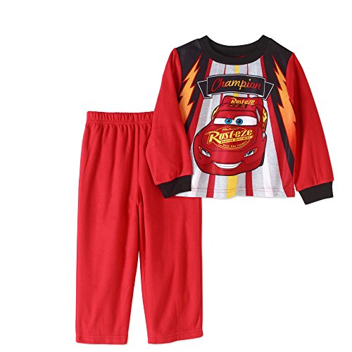 AME Inc Toddler Boys Cars Lightning McQueen Pajamas- Poly Shirt & Fleece Pants 18M