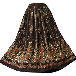 Customer reviews Doorwaytofashion Ladies Boho Hippie Gypsy Indian Sequin Party Casual Summer Sundress Belly Dance Skirt (Brown, One SizeRegular):Dailyvideo