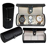 Royal Brands Watch Box, Luxury Design Display and Storage for Watches and Bracelets - Black PU Leather and Chrome Clasp Closure (3 Slots)