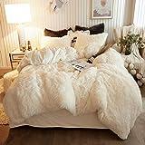 Plush Shaggy Duvet Cover Set Luxury Ultra Soft Crystal Velvet Bedding Sets 3 Pieces(1 Faux Fur Duvet Cover + 2 Faux Fur Pillowcases),Zipper Closure(Queen,Light Beige)