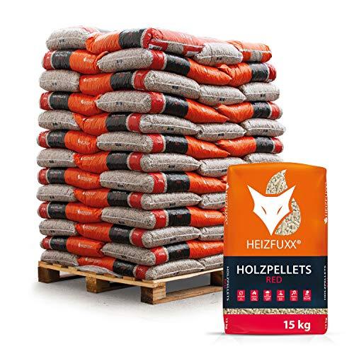 PALIGO Holzpellets Red Heizpellets Hartholz Wood Pellet Öko Energie Heizung Kessel Sackware 6mm 15kg x 65 Sack 975kg / 1 Palette Heizfuxx