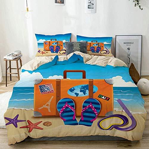 Juego de funda nórdica beige, ilustración de maleta de viaje con pegatinas de colores y máscara de esnórquel, juego de cama decorativo de 3 piezas con 2 fundas de almohada, fácil cuidado, antialérgico