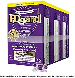 FDgard® for Functional Dyspepsia (Recurring Indigestion) Symptoms Including, Abdominal Pain & Discomfort, Nausea, Bloating, Difficulty Finishing a Meal, 36 Capsules (3 Pack)