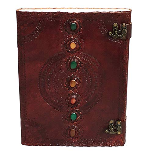 13 Inches Leather Journal Book Seven Chakra Medieval Stone Embossed Handmade Book of Shadows Notebook Office Diary College Book Poetry Book Sketch Book Present by IndianHandoArt