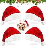 Sunshine smile 4 Stück Weihnachtsmützen Plüsch,Rot Weihnachtsfeier Hut,Nikolausmütze Plüsch,Weihnachten Mütze Plüsch,Weihnachtsmütze Set,Nikolausmütze,Verdicken Weihnachtsmann Hut fur alle Erwachsene