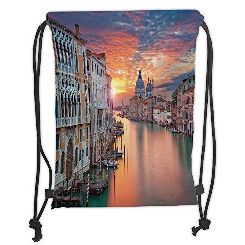 Fevthmii Drawstring Backpacks Bags,Cityscape,Image of Grand Canal in Venice Horizon European Town International Heritage Urban,Multi Soft Satin,5 Liter Capacity,Adjustable String Closure,TH